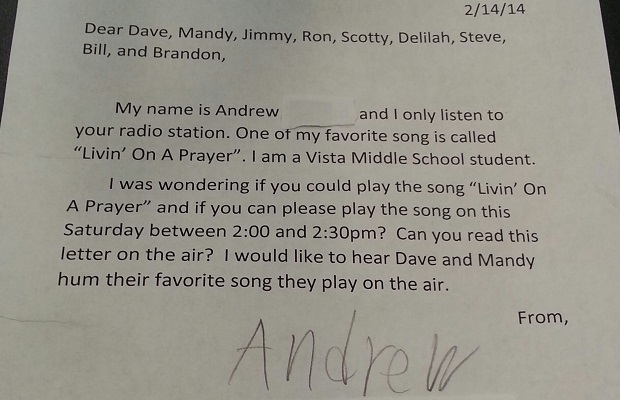Andrew's letter leads to silly humming contest